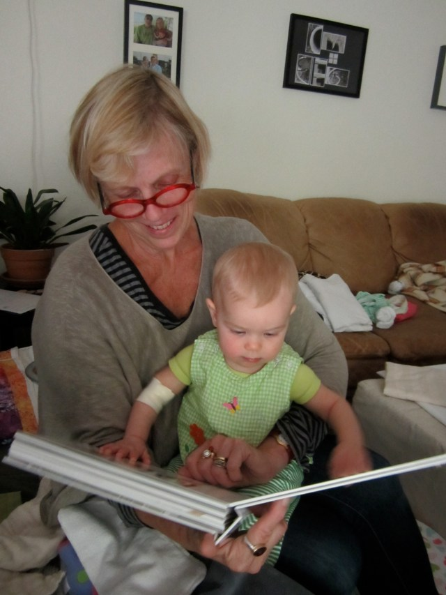 Grandma reads to Peeper after the ordeal. My mom not only helped with Peeper; she lent me strength as well.