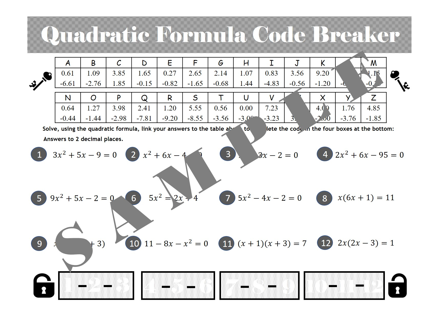 Quadratic Formula Code Breaker Activity