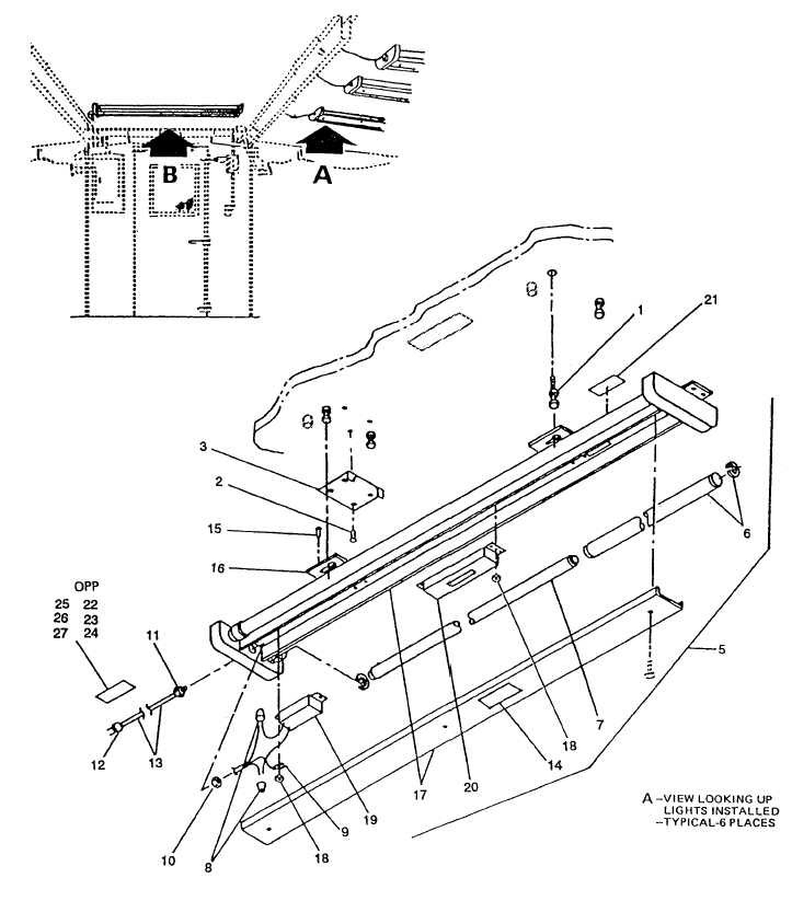 Figure 3. Movable fluorescent light assembly (sheet 1 of 2