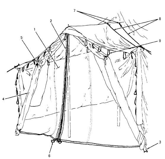 Figure 2-3. Tent and Liner Doors Open, With Flaps Rolled