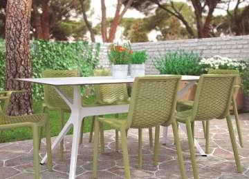 Table De Jardin Resine Rouge | Salon Jardin Rotin Gris Tresse Effet ...