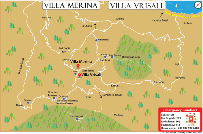 Vector Map for Villa Merina & Villa Vrisali