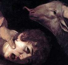 Caravaggio, Sacrifice of Isaac (detail), 1603, oil on canvas, 104 x 135 cm, Uffizi Gallery, Florence, Italy