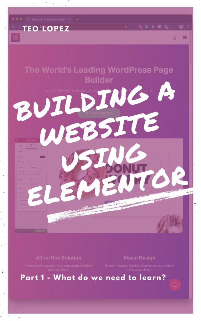 Building a website using Elementor