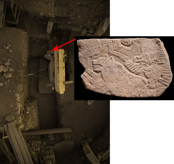 Fragment of a relief showing a separated human head among animals. Found next to one of the central pillars of Enclosure D (Photos N. Becker, Copyright DAI).