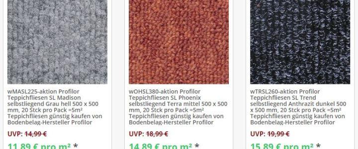 Teppichfliesen Aktionspreise allfloors
