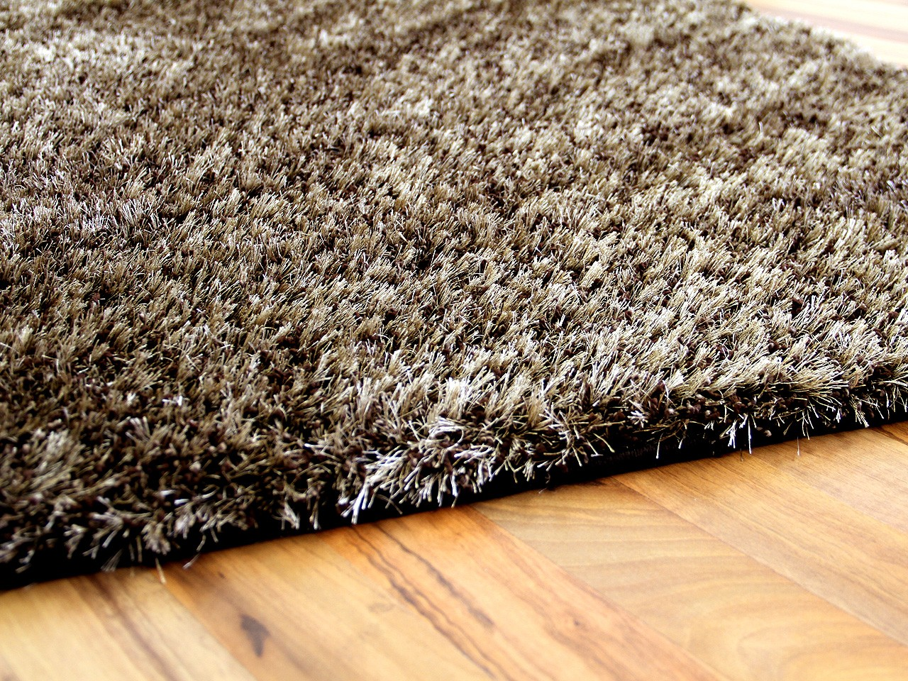 Shaggy Teppich Bettumrandung Hochflor Shaggy Teppich Luxus Feeling Mix Braun Gold