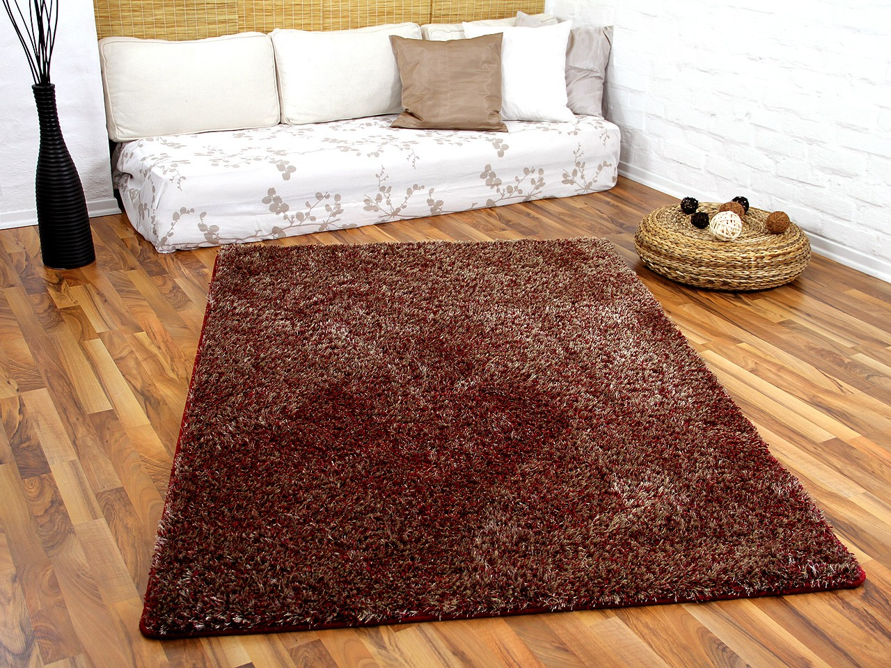 Hochflor Teppich Luxus Shaggy Hochflor Shaggy Teppich Luxus Feeling Mix Rot Gold