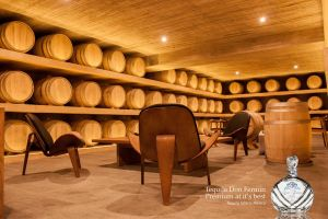Don Fermin barrel room at Destilería Leyros.