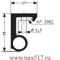 Уплотнительная резина двери холодильной камеры Gasket №3350 (15948 EPDM) Fermod