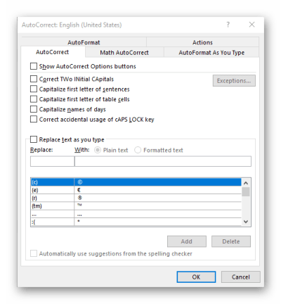 Disable AutoCorrect Office Word 2016