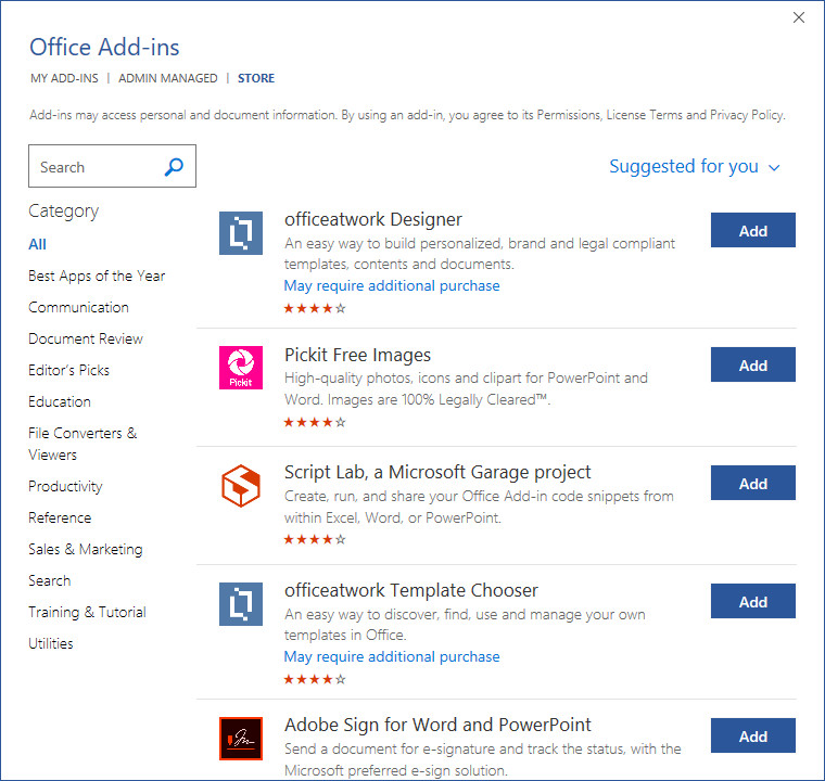 Office Add-Ins Microsoft Office 2019