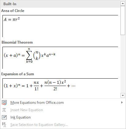 Equation Microsoft Office 2019