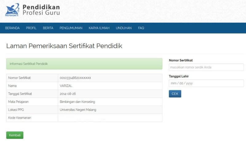 Cek sertifikat pendidik (serdik)