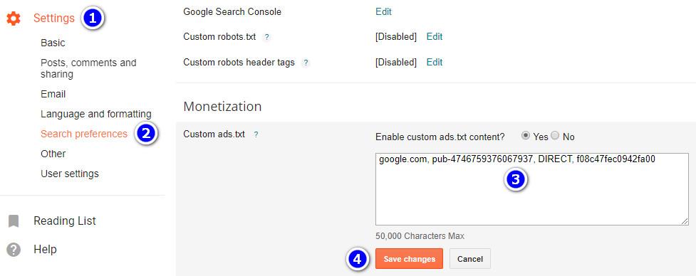 Memasang file ads.txt di Blogger