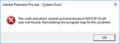 Error MSVCR110.dll