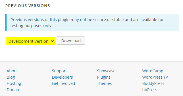 Downgrade plugin WordPress