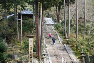 山門。 石段を上る。