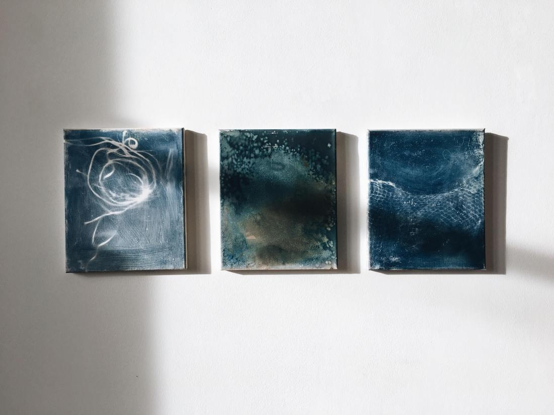 Plastic Sea, Cyanotype on canvas, 25x30cm