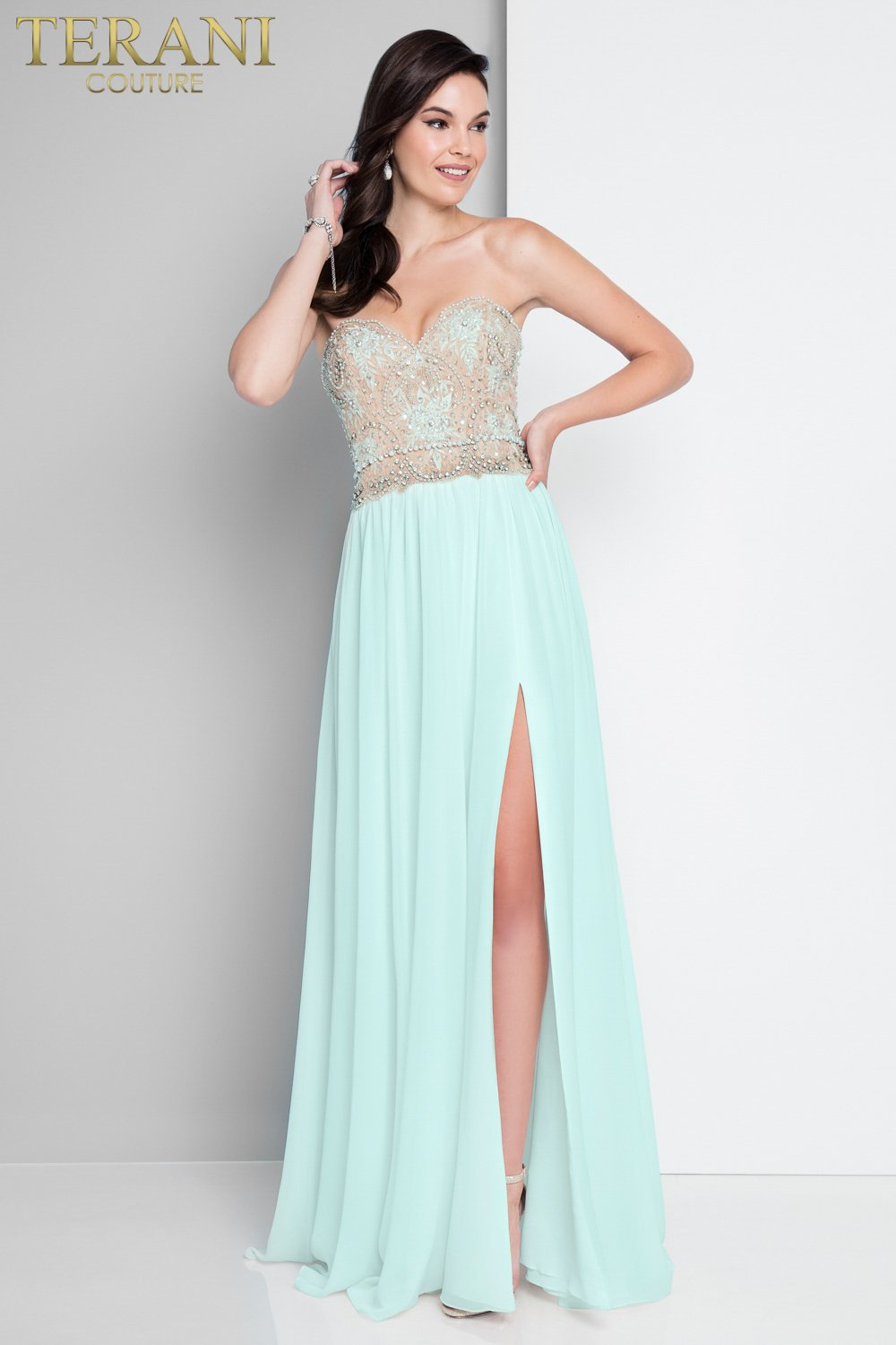 Romantic Strapless Embroidered Flowy Prom Dress  1811P5214