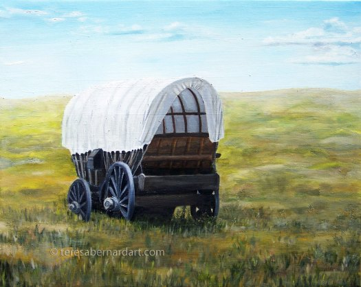 covered wagon landscape painting