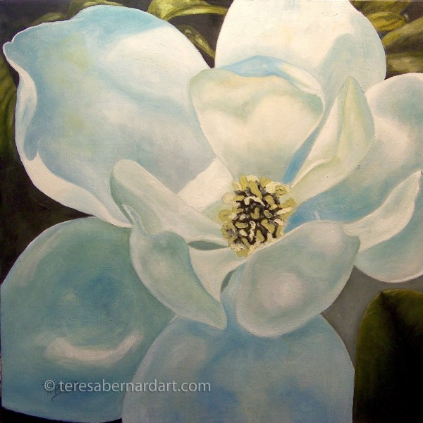 Magnolia Blossom Painting Teresa Bernard Oil Paintings