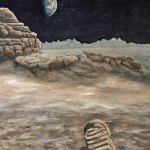lunar footprint painting