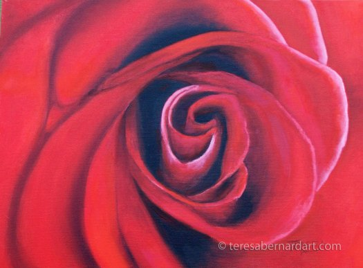 red rose close up painting