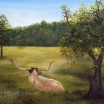 Texas Longhorn In The Meadow oil painting