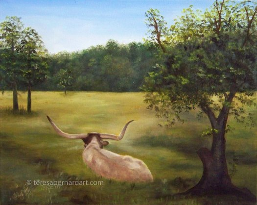 TX longhorn cow painting