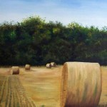 TX Hay bales Oil on canvas
