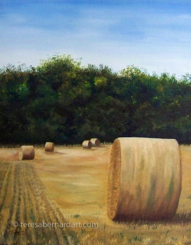 round hay bales oil painting