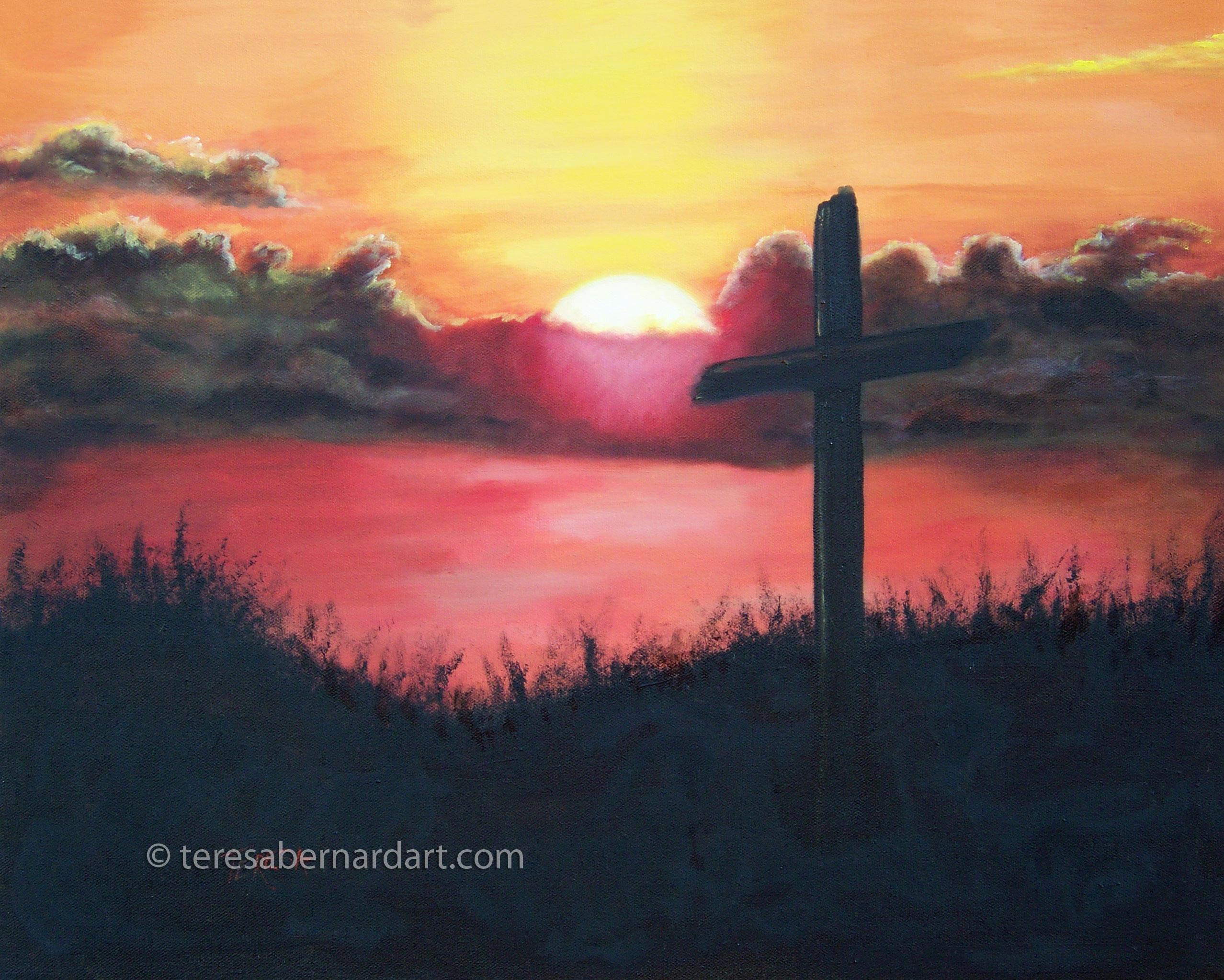 calvary at sunset oil painting teresa bernard oil paintings