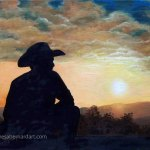 Cowboy Sunset canvas wall art