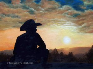tx sunset oil painting