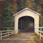covered bridge landscape art