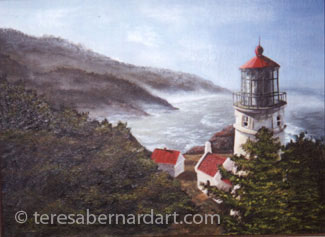 lighthouse seacoast painting