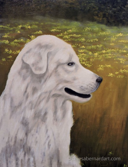 white dog pet painting