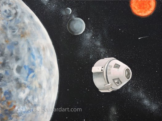 outer space oil painting