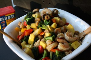 Delicious recipe for shrimp and veggies on the grill