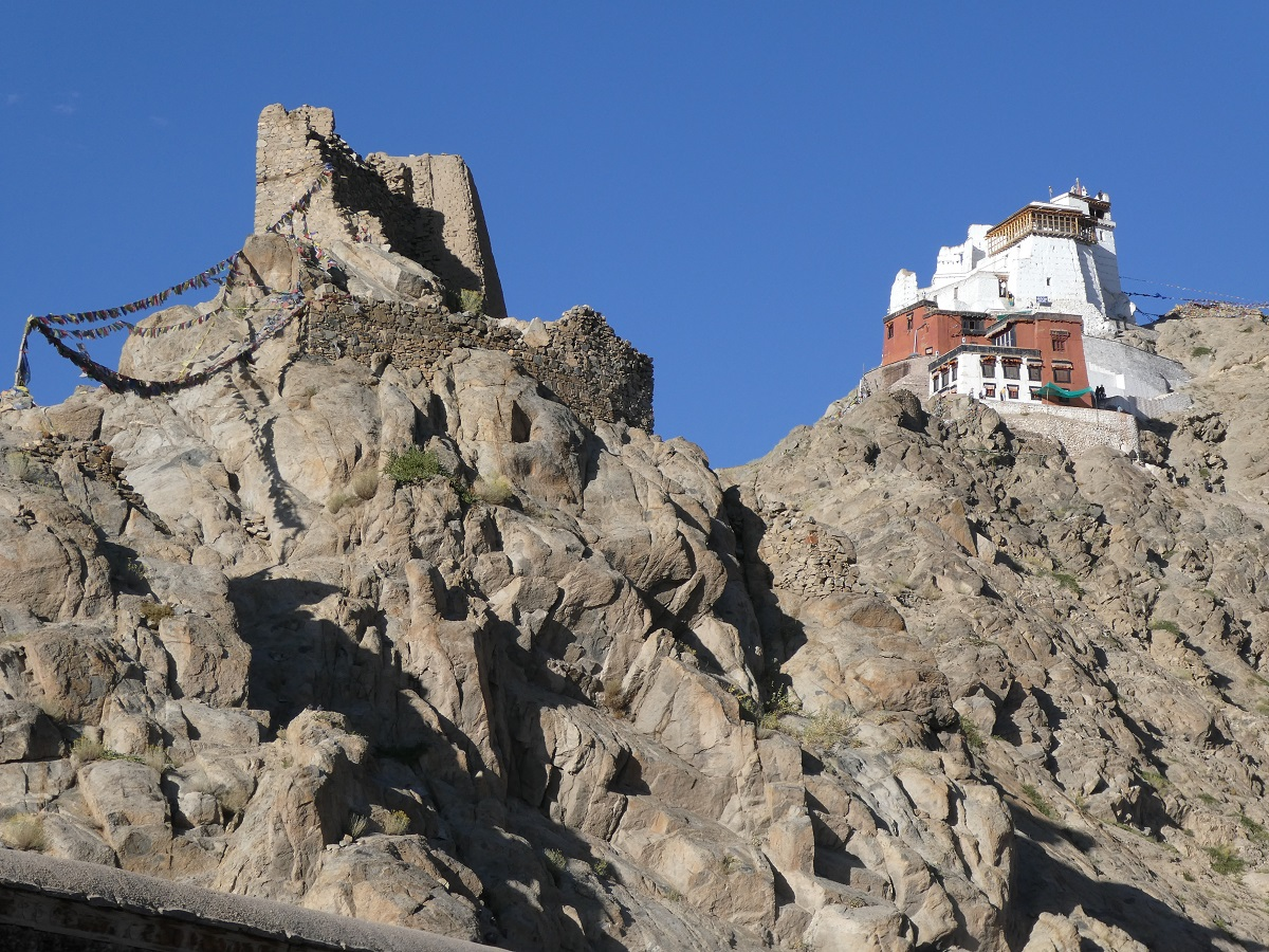 Ancient and Old Palace Monastery atop rocky peaks near Leh