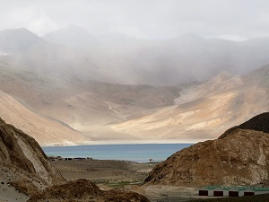 Pangong Lake from its only entrance by road