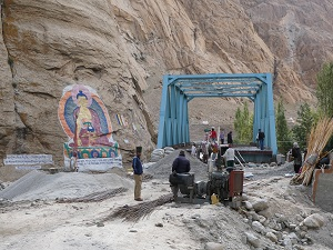 Bridge under construction on the road to Tsomoriri Lake, Ladakh, India
