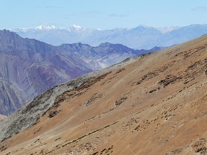 Steep mountains and amazing colours on the view towards Leh from Tagland La Pass, Ladakh