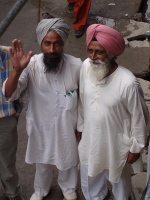 Two Sikh pilgrims in Gangaria returning from Hemkund Valley Of Flowers, India, 2006
