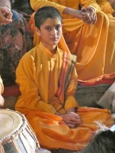 A young bramachari at the Ganges Aarti, Rishkiesh
