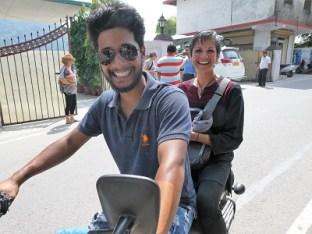 Kartik and Shoba getting around Rishikesh on a motor bike