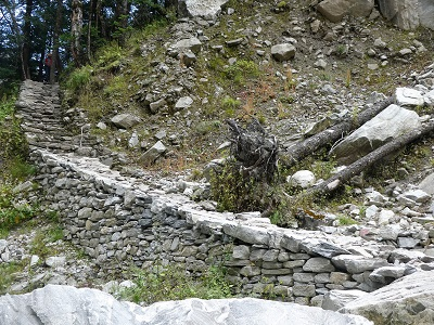 At the beginning of the new track into the Valley of the Flowers, Himalayan India