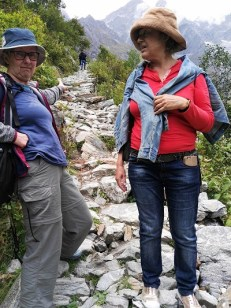 Shona and Phyllis on the track indicating the steepness of it. Himalayan India