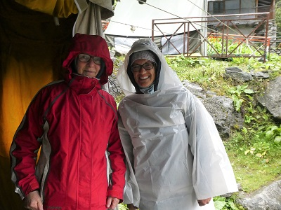 Shona and Shoba ready to head down the hill in the rain - from VOF camp to Gangaria, Himalayas, India